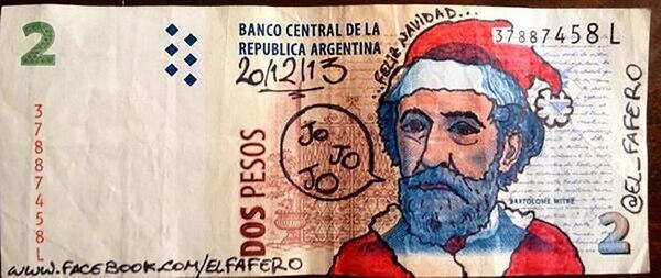 Papá Noel en el viejo billete de dos pesos