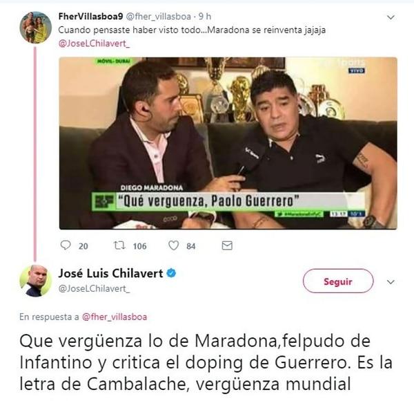 Dura respuesta de Chilavert a un meme de Maradona sobre Paolo Guerrero