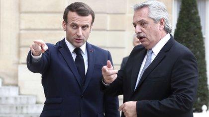 Alberto Fernández y Emmanuel Macron en el Palacio Eliseo