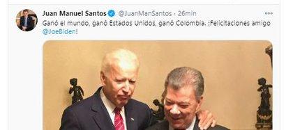 El expresidente colombiano Juan Manuel Santos reacciona ante los resultados de los EE.UU.