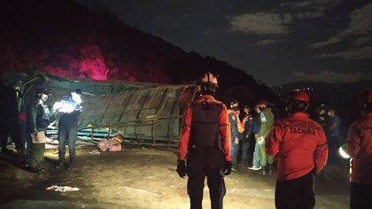 El vehículo militar que volcó en la frontera