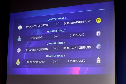 Soccer Football - Champions League - Quarter Final & Semi Final Draw - Nyon, Switzerland - March 19, 2021  General view of the draw  UEFA/Handout via REUTERS   ATTENTION EDITORS - THIS IMAGE HAS BEEN SUPPLIED BY A THIRD PARTY. NO RESALES. NO ARCHIVES