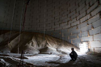 A worker sits next to a pile of corn inside a grain storage bin at the Centerra Co-op grain facility in Mansfield, Ohio, U.S., on Wednesday, June 3, 2020. The United States Department of Agriculture (USDA) is scheduled to release the World Agricultural Supply and Demand Estimates (WASDE) report on June 11. Photographer: Dane Rhys/Bloomberg