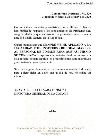 Ana Gabriela Guevara respondió a las acusaciones en su contra (Foto: Conade)