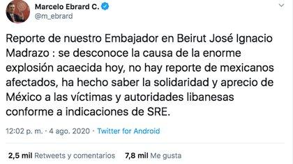 El secretario de Relaciones Exteriores de México informó sobre los connacionales heridos tras la explosión ocurrida en Beirut (Foto: Twitter)