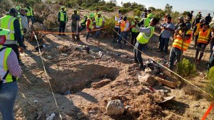 Tras una semana de búsqueda, hallaron una fosa clandestina en Tijuana este mes (Foto:  Fernando Ocegueda, presidente de la Asociacion unidos por los desaparecidos de Baja California)