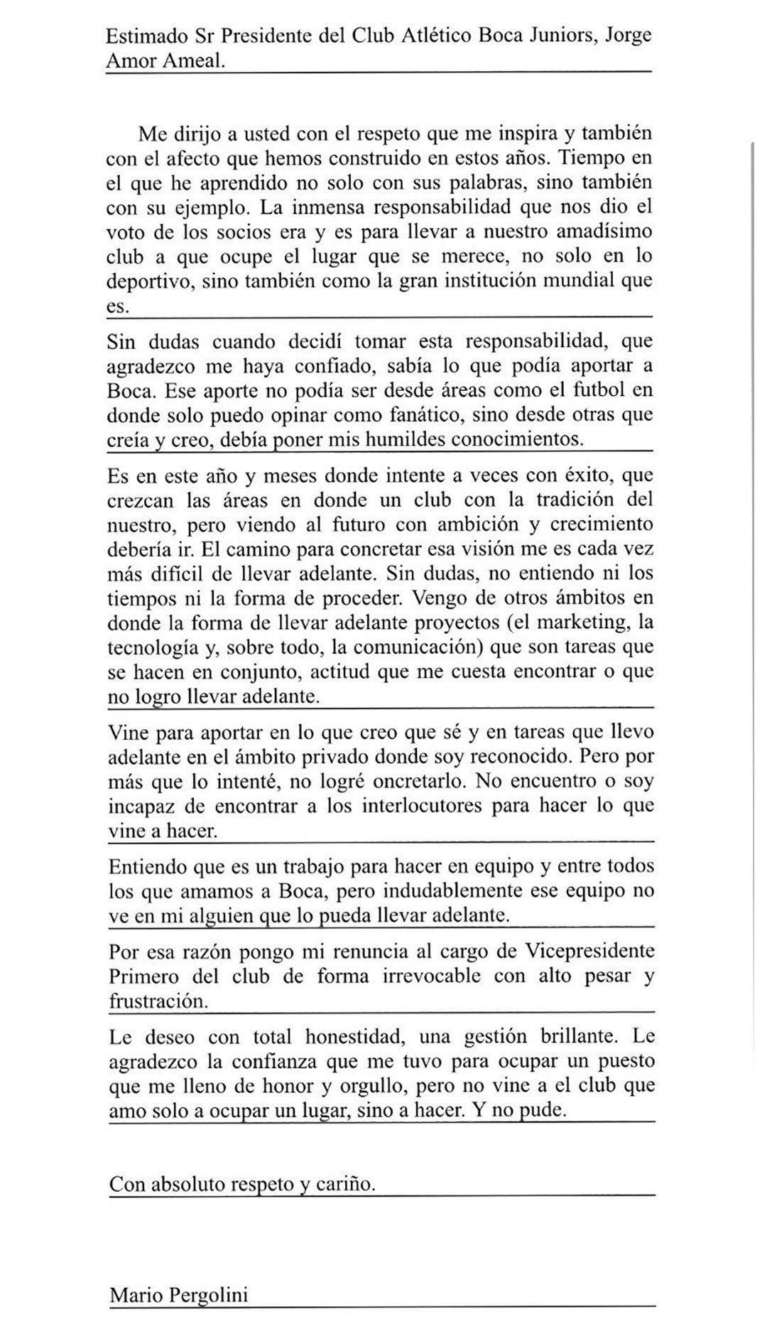 la carta de renuncia de Pergolini a la vicepresidencia de Boca