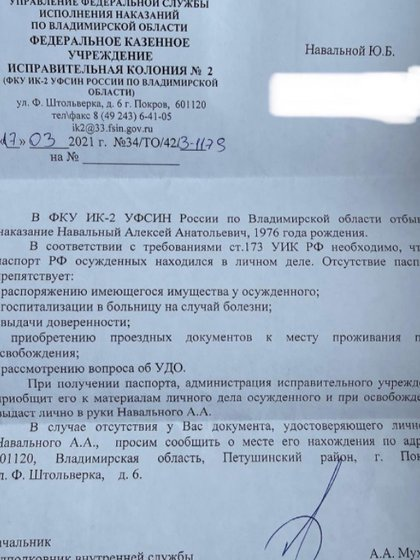 La publicación de Yiulia Navalny (Instagram/@yulia_navalnaya)
