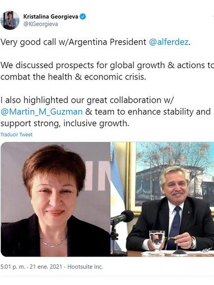 El tuit de la titular del FMI del pasado 21 de enero tras su conversación telefónica con el presidente Alberto Fernández
