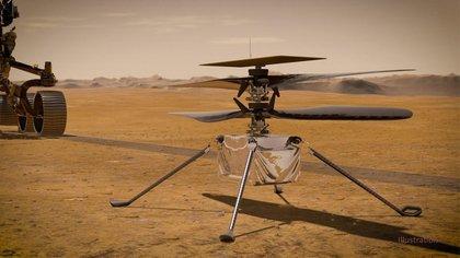 En esta ilustración, el helicóptero Ingenuity Mars de la NASA se encuentra en la superficie del Planeta Rojo con el rover Perseverance de la NASA. NASA/JPL-CALTECH
