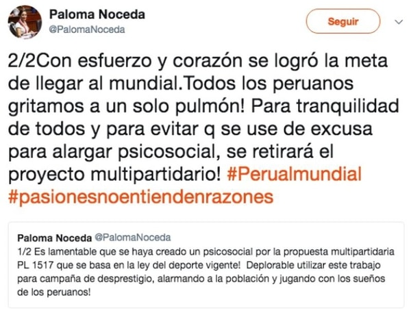 El tuit de la congresista peruana en el que confirma que no presentará el proyecto