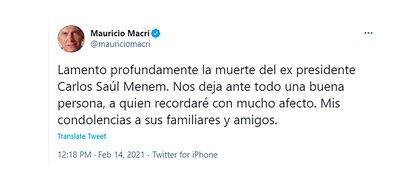 Las condolencias de Mauricio Macri