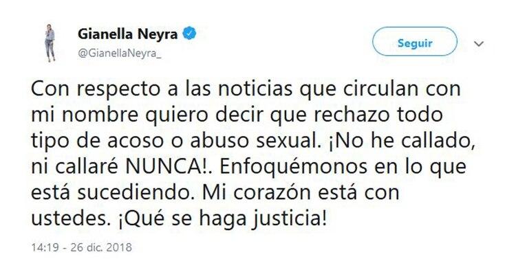 El tuit de Gianella Neyra