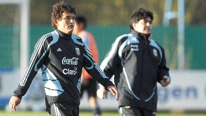 En 2009 Maradona lo citó para la selección argentina y jugó unos minutos de un amistoso ante Ghana (Foto Baires)