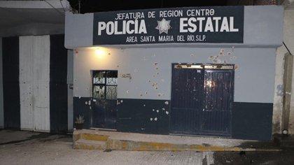atentado contra sede de la policía estatal de San Luis Potosí (Foto: Secretaría de Seguridad de San Luis Potosí)