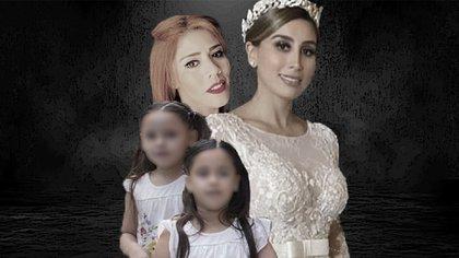 Las gemelas Emaly y María Joaquina, Alejandrina Giselle (vestida de novia) son algunas de las hijas reconocidas y Rosa Isela que dice ser hija del ex líder del Cártel de Sinaloa (Foto: Steve Allen)