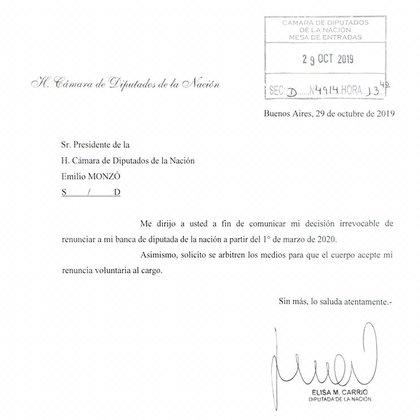 La nota de renuncia de Elisa Carrió