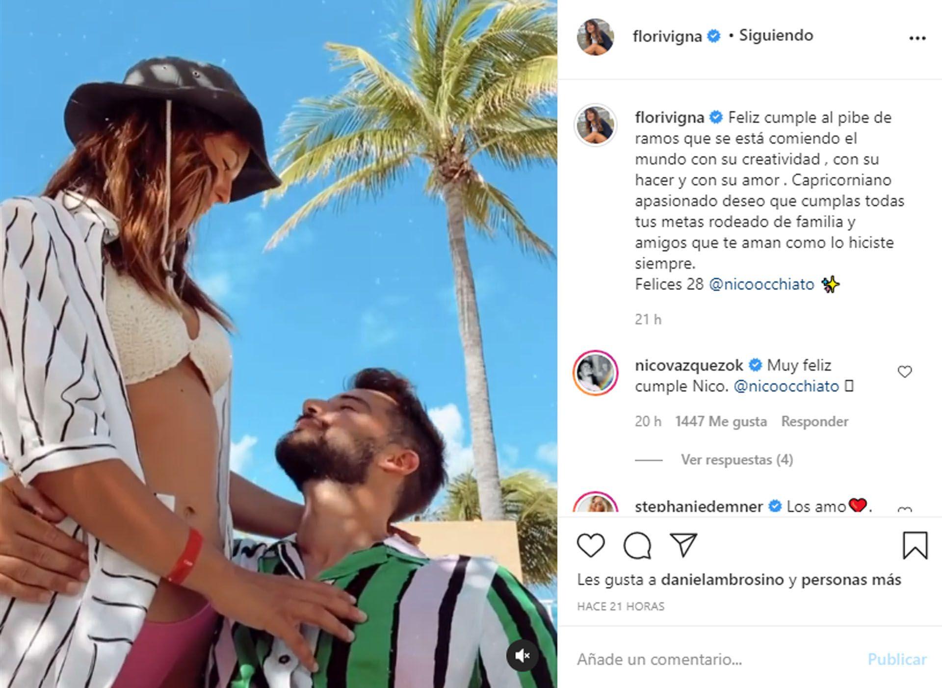 Flor Vigna y Nico Occhiato (Foto: Instagram)