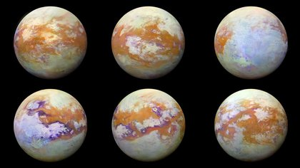 Imágenes infrarrojas de Titán, la luna de Saturno, que representan algunas de las vistas globales más claras de la superficie helada (NASA)