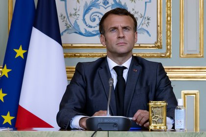 El presidente francés, Emmanuel Macron, participa en la Cumbre virtual sobre el Clima (EFE/ EPA/ Ian Langsdon)