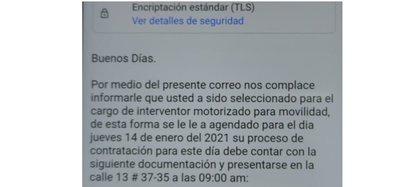 En el correo informan fraudulentamente de la convocatoria para el cargo de Agente civil de Tránsito. Foto: Secretaría de Movilidad de Bogotá