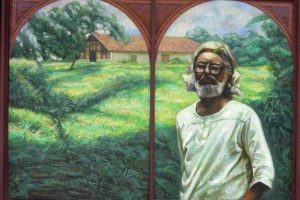 Retrato de Ernesto Cardenal en Solentiname. (Foto: cuadro del artista Sergio Michilini, 2005)