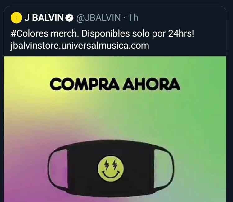 La mercancía oficial de J Balvin está alineada a la identidad gráfica de su nuevo álbum (Foto: Twitter @JBALVIN)