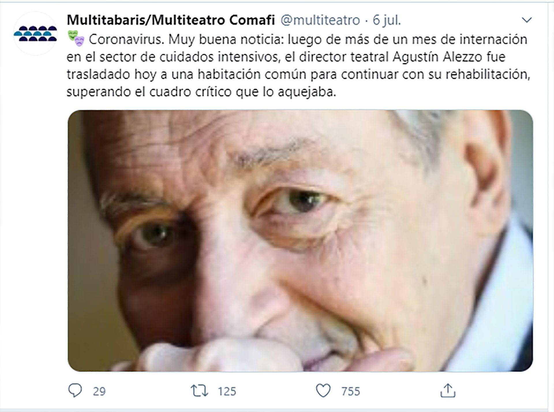 Tweet de Multitabaris/Multiteatro Comafi