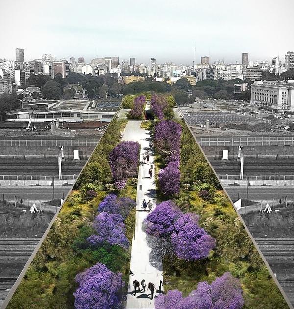 Peatonal con espacios verdes