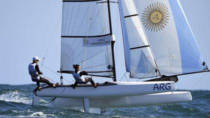 El equipo argentino en la regata final en los Juegos Olímpicos de Río 2016 (Foto: AFP)