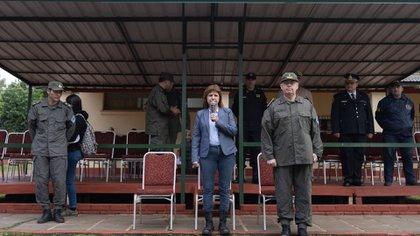 Patricia Bullrich, durante su gestión como ministra de Seguridad, en un acto de Gendarmería (Adrián Escandar)