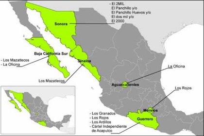 Mapa del territorio dominado por los Beltrán Leyva en 2016 (Imagen: Casede)