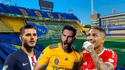 Mauro Icardi, el francés Gignac y Paolo Guerrero, tres delanteros que sonaron en Boca (REUTERS/Agustin Marcarian)