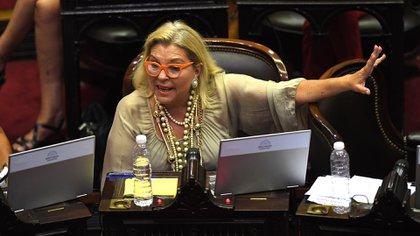 Buenos Aires: La diputada Elisa Carrió durante el debate del proyecto de Restauración de la Sostenibilidad y la Deuda Pública Interna. Foto: Víctor Carreira/Télam/ef 29012020