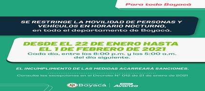 Departamento de Boyacá inicia restricciones a la movilidad y al tránsito de vehículos pesados por contingencia sanitaria. Crédito Gobernación del Departamento