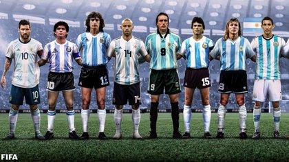 Foto de íconos de la selección argentina por la FIFA