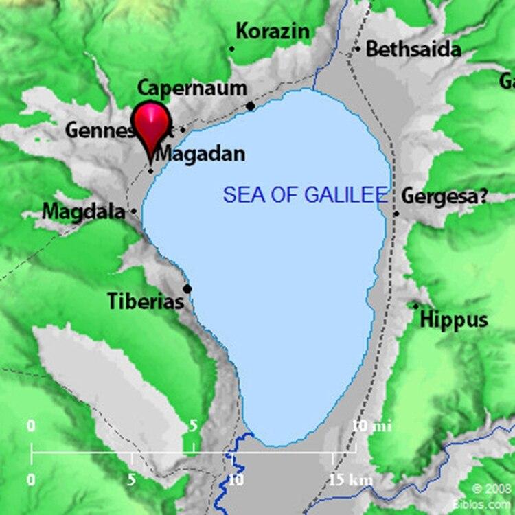 Ubicación de Magdala (Magadan) en Galilea