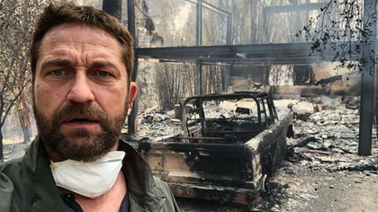 The photos that he shared with Gerard Butler to show you how it was his house, after the passage of the flames