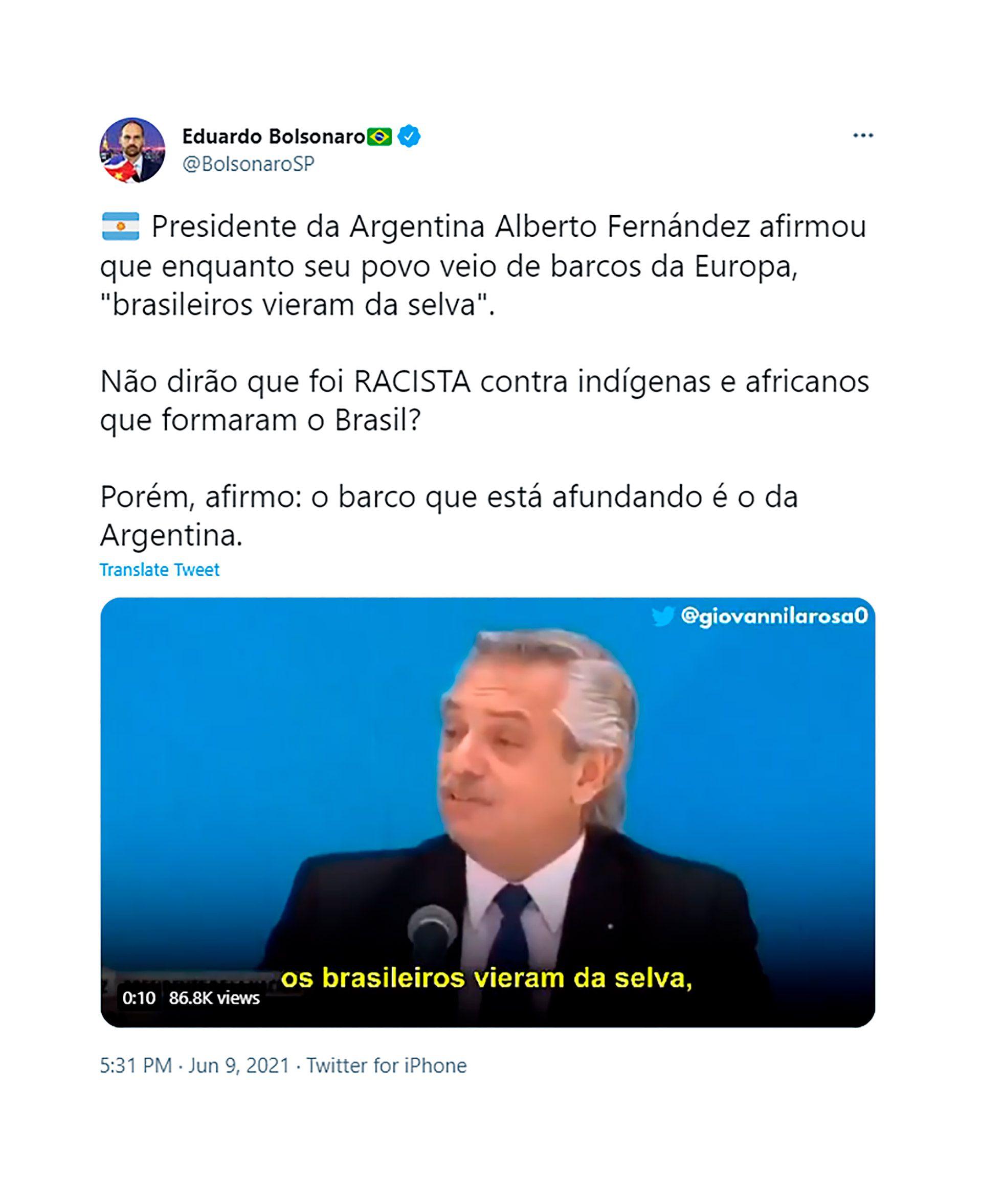 bolsonaro twitter alberto fernandez brasil