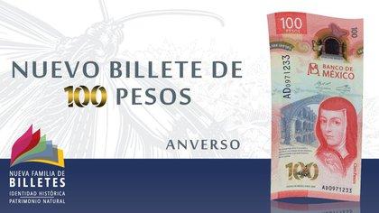 Billete de 100 pesos ganó galardón del IBNS como el mejor del año