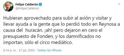 Así se expresó el expresidente Calderón a través de su cuenta de twitter.  (Foto: captura de pantalla)