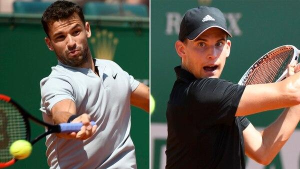 Grigor Dimitrov y Dominic Thiem perdieron en los cuartos de final del ATP 500 de Barcelona (AFP)
