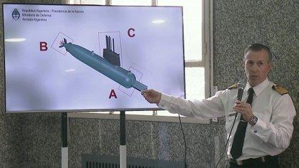 Las fotos tomadas corresponden a tres partes del submarino, identificadas con las letras A, B y C