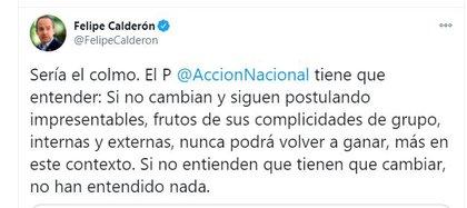 Felipe Calderón criticó posible candidatura en BC (Foto: Twitter / @FelipeCalderon)