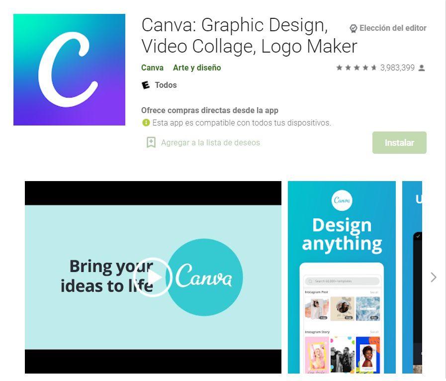 Aplicación Canva para crear diseños originales