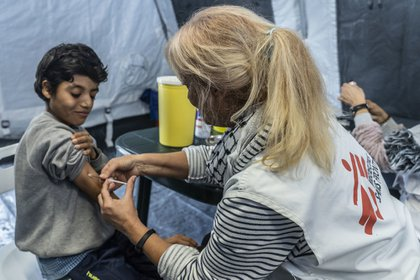 Doctors Without Borders carried out a vaccination campaign for migrant children on the island of Lesbos