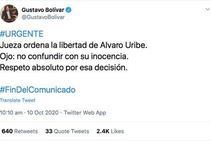 La reacción del senador Gustavo Bolívar (@GustavoBolivar)