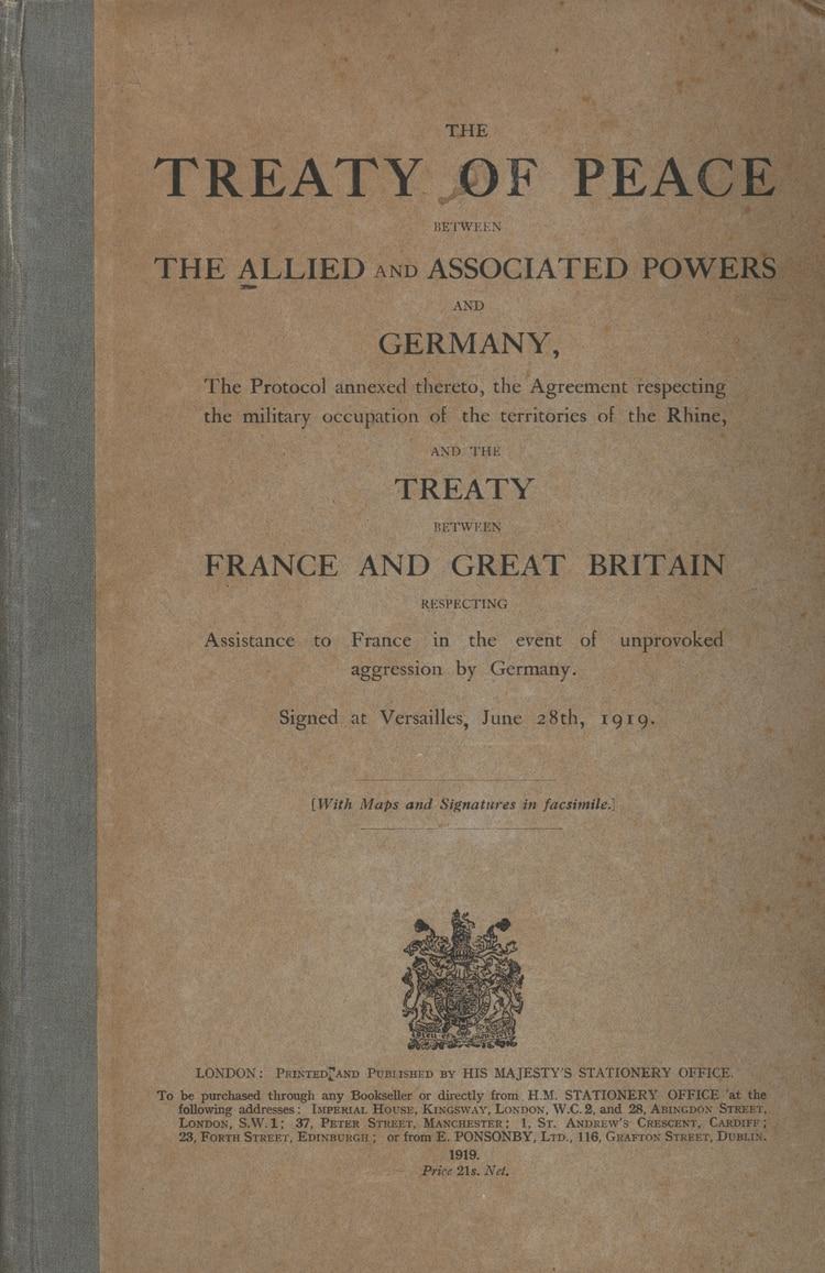 Portada del Tratado de Versalles impreso, en inglés