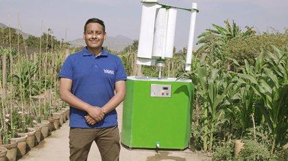 """""""Yawa"""" es una combinación de las palabras quechuas yaku (agua) y wayra (viento) que utiliza turbinas eólicas para condensar el vapor del aire y convertir la humedad atmosférica en agua (UNEP)"""