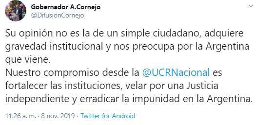 El mensaje de Cornejo sobre los dichos de Alberto Fernández